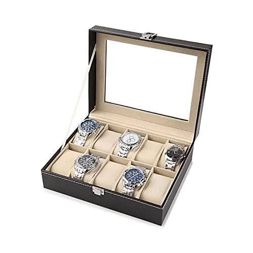 SSHA Joyero Cofre con la Parte Superior de Vidrio con Almohadas Suaves Ajustables Vintage Wood Watch Mostrar Caja de Almacenamiento Organizador de Joyas