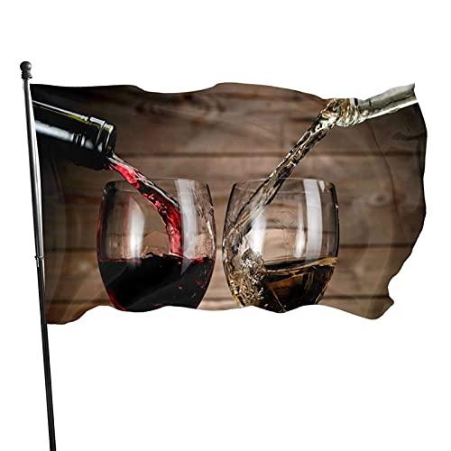 Bandera de Jardín Doble Costura Resistentes a la Decoloración UV Banner de Bandera Decorativo Exterior Fiesta Mardi Gras para Patio Césped Bebidas de vino con patrón de botellas de vidrio 150X90cm