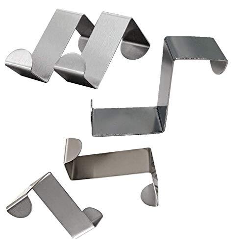 Juego de 5 ganchos de acero inoxidable para colgar sobre la puerta del armario y cajón, ganchos de oficina, cocina, ganchos para colgar ropa (4 x 2)