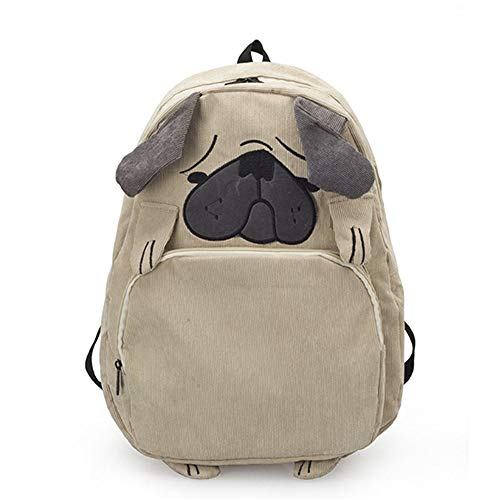 3D Dog/Fox Shape Backpack [ Cute Troubled Face Pug ] Animal Daypack For Girls (Dog)