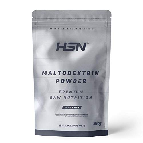 Maltodextrina de HSN   Carbohidrato de Alto Índice Glucémico, Ideal para la Carga de Carbohidratos, Combinar con Batidos de Proteína Post-Entreno, Vegano, Sin Gluten, Sin Lactosa, Sin Sabor, 3Kg