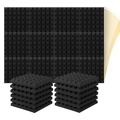 12 placas acústicas de espuma acústica para estudio de sonido, oficina, despacho, estudio doméstico (30 x 30 x 5 cm)