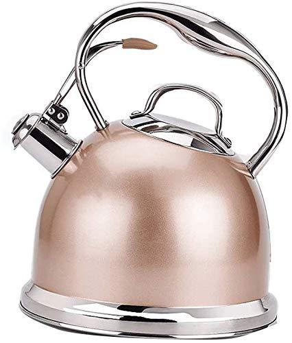 Tetera silbante Caldera de Gas de Acero Inoxidable Champagne Agua Potable Segura no se recupera la Estufa Salud Cocina de inducción General automático Silbato WHLONG