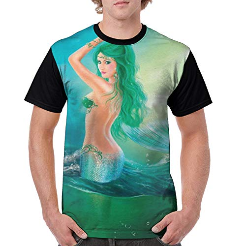 Man's T Shirts,Mermaid in Ocean On Waves Tail Sea Creatures Dramatic Sky Dark Clouds XXX-L