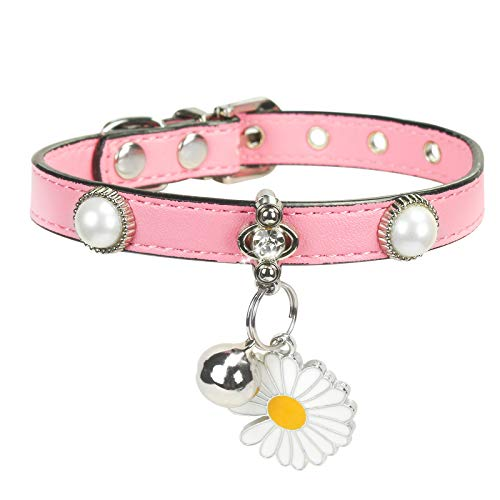 YMTECH Cat Collar with Bell – Fashion Pet Collar with Rhinestone and Daisy Flower, Soft PU Leather Neck Collar for Small Dogs, Kitten and Other Small Pets (Pink)