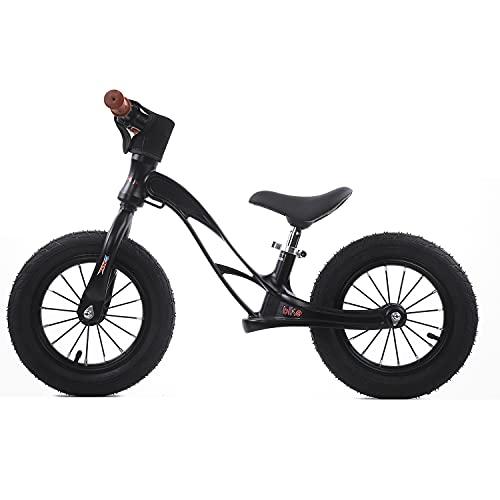 Bicicleta de equilibrio ligera para niños de 12 pulgadas para niños pequeños de 2 a 6 años, bicicleta de entrenamiento para niños pequeños sin pedal, asiento ajustable para bicicleta deportiva,Black c