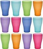 idea-station Neo Verres Plastique 12 Pieces, 450 ML, Couleur, réutilisables, gobelet, Verre, Tasse en Plastique, Vaisselle, Enfant, Bebe, Camping, a Eau, Whisky, Cocktail