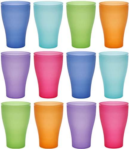 idea-station Neo Vasos plastico 12 Piezas, 450 ml, Colorido, Reutilizable, inastillable, Duro, vajilla, Tazas, Copas, Vaso, niños, Infantiles, de Agua, cóctel