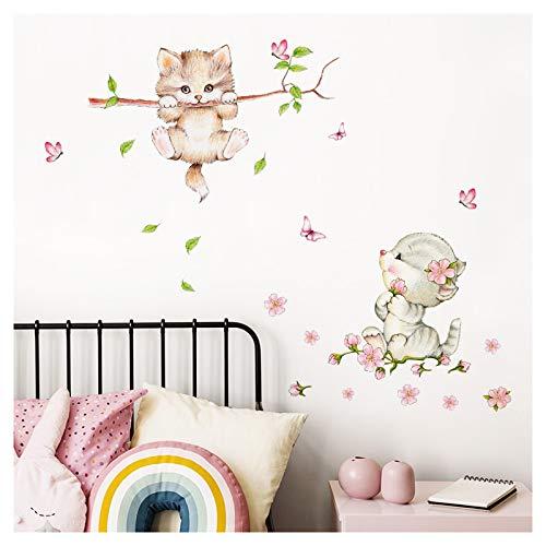 Little Deco muursticker kinderkamer meisjes 2 katten vlinders I Muurtattoo kat sticker dieren deco babykamer kinderen DL361 S - 56 x 60 cm (BxH)