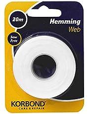Korbond Cinta termoadhesiva para dobladillos, para pegar tela y hacer manualidades sin coser, ideal para orillas, pantalones, vaqueros, parches y uniformes, 2 cm x 20 m, white (110042)