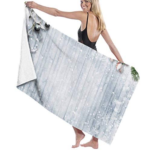 wusond Toalla de baño Microfibra Super Suave Toalla de baño Christmas Firtree Holly Snowfall en Madera de Alta absorción de Agua, Multiusos 80cm * 130cm para baños, hoteles, gimnasios y SPA