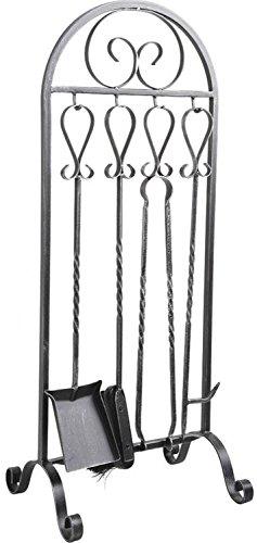 PEGANE Serviteur de cheminée en Fer forgé + 4 Accessoires, 32 x 24 x 80 cm