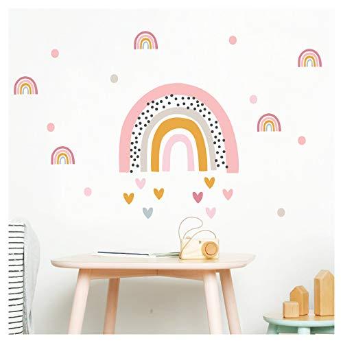 Little Deco Wandaufkleber Regenbogen mit kleinen Regenbogen & Herzen I 160 x 64 cm (BxH) I Wandsticker Wandtattoo Mädchen Kinderzimmer Deko Sticker Aufkleber DL480