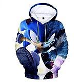 Yuanou Sudaderas con Capucha 3D Estampado Sonic Hombre Neutro, Hoodie 3D Ropa para Nios (10,120cm)