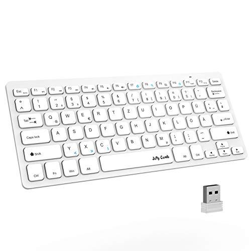 Jelly Comb 2.4G Funktastatur, Wireless Kabellose Schnurlose Tastatur für PC, Laptop, QWERTZ Deutsches Layout, Weiß
