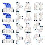RO Raccord Osmoseur de filtre à eau, Raccord Droit 1/4' (6MM) Pushfit pour Tuyau de Filtre à Eau, Raccords pour Réfrigérateur Tubes de YANSHON (Robinet Combiné de Type Y + T + I + L + Robinet d'Arrêt)