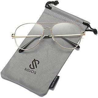 SOJOS Classic Aviator Mirrored Flat Lens Sunglasses Metal...