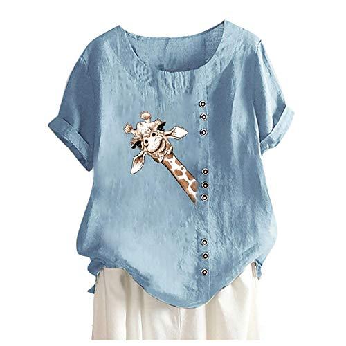 YinGTral Damen Casual Print Kurzarm O-Ausschnitt Plus Size T-Shirt Top Bluse Tuniken