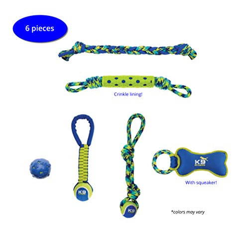 ZEUS K9 Fitness Variety Pack, 6 Piece, Tennis Balls, Ropes, Tugs, Tough Material, Perfect for Active Playful Dogs, Medium to Large Dogs