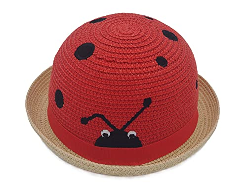 Toddler Boys Girls Funny Novelty Party Straw Hats Kids Cute Insect Designed Outdoor Sun Protection Beach Cap Colorful Beige/Red