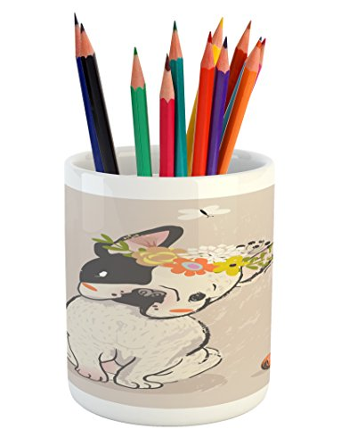 Lunarable Dog Pencil Pen Holder, Hand Drawn French Bulldog with Wreath on Its Head Watercolor Domestic Pet Illustration, Printed Ceramic Pencil Pen Holder for Desk Office Accessory, Multicolor