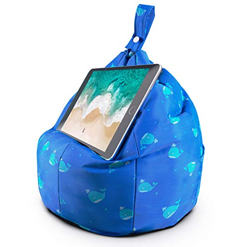 Planet Buddies Tablet & iPad Stand, Cushion Tablet Holder, Ideal for iPad, Samsung, Huawei or any Tablet Up to 12.9 inches, Two Pockets for Storage, Ergonomic Design - Blue Whale