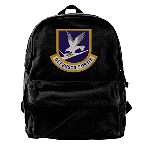Yuanmeiju Canvas Backpack Defensor Fortis Air Force Security Force 1 Trend Black Canvas Backpack is Suitable for Students to Travel to School
