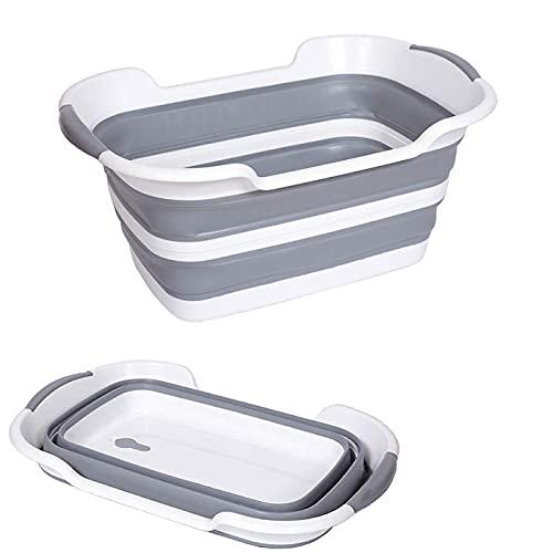 Qyuruisi Collapsible Bathtub Pet Dog Cat Bath Tub Portable Multifunction Foldable Baby Bathtub Laundry Basket Storage Organizer Folding Washing Tub Non Slip with Drainage Hole (Grey)