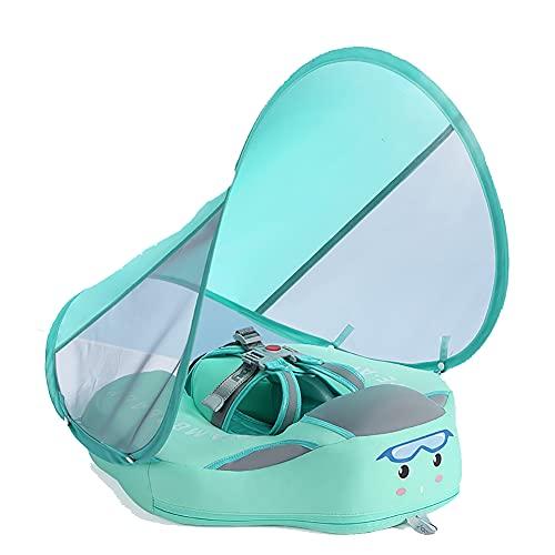 KRISVA Flotador de bebé para piscina, para bebés, para piscina, juguetes inflables para bebés con toldo desmontable y asiento seguro para 6 – 18 meses (verde)