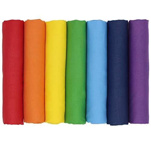 aufodara Tessuti Tessuto Cotone Stoffa Arcobaleno Patchwork Tinta Unita Bundle Tessuto 7 Pezzi 50x45 cm Cucito Creativo DIY Fatto a Mano (Arcobaleno)