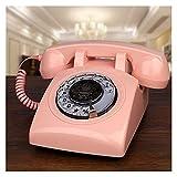 TAIJU-CHENCHEN Teléfono con Cable Clásico Rotary Dial Home Office Teléfonos Antiguo Teléfono Vendimia, Estilo de 1960 Retro Antiguo Dial Rotary Teléfono CHENCHEN (Color : Pink Telephone)