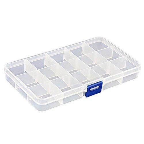 kentop Surtido Buzón Joyero plástico caja herramienta ajustable 15compartimiento Contenedor transparente