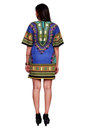 Handicraft-Palace Blue African Floral Printed Women's Dashiki Print Sun Dress Kaftan Maxi Gown Free Size Caftan Cotton Bikini Cover up Nightwear Sleepwear One Piece