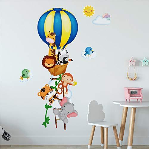 R00253 Adesivi Murali Soffice Effetto Tessuto giungla mongolfiera Decorazione Muro Bambino Neonato Nursery Cameretta Asilo Nido Carta da Parati Adesiva