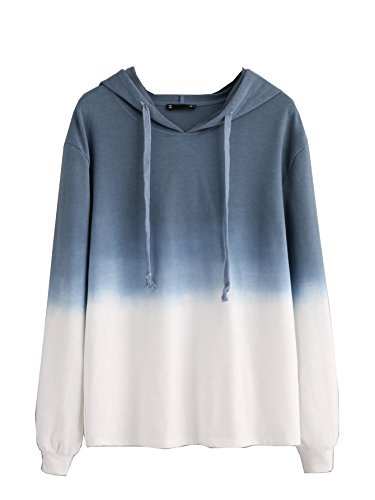 SweatyRocks Women's Sweatshirt Pullover Hoodie Cotton Shirt Blue Ombre (Large, Blue_White Ombre)