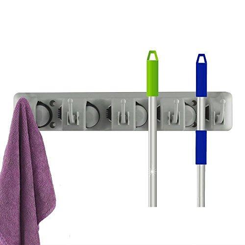 Soporte portaescobas, fregonas y mopas, sujeción para herramientas de jardín con montaje en pared, solución de almacenamiento y organización para su hogar, armario, garaje y trastero.