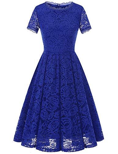 Women's Prom Vintage Floral Lace Tea Dress Boat Neck Cocktail Swing Dress RoyalBlue S