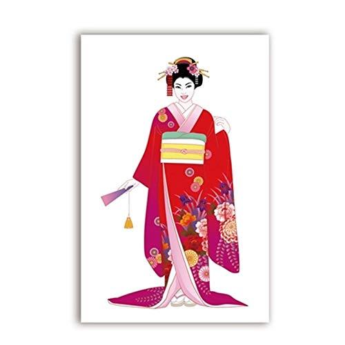 Geiqianjiumai Meisjes Kimono traditioneel schilderwerk canvas woonkamer decoratie poster en print