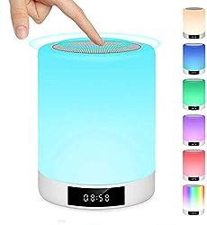 ♫【Multiples Fonctions】♫ Cette lampe de chevet reveil contient plusieurs fonctions: Enceinte Bluetooth V4.2 + Réveil + Radio FM + Contrôle Tactile + Lecture de Musique Portable + Appel Mains Libres Bluetooth + Horloge de Table (heure militaire seuleme...