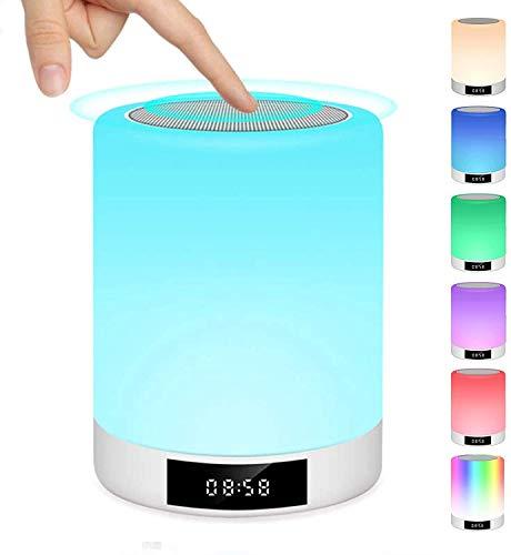 Lampe de Chevet Tactile Rechargeable Portable, Lampe de Table Enceinte Bluetooth Musique, FM Radio Réveil Lumière LED Multicolor Mains Libres pour Chambre à Coucher, Bureau, Salle de bébé Warmfunn