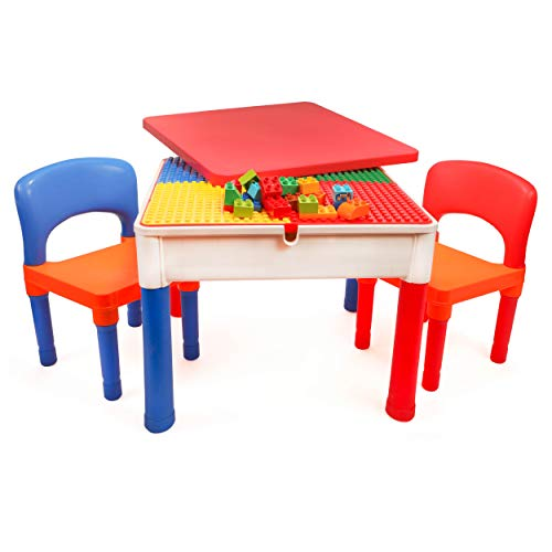 Smart Builder Toys 3 in 1 Activity Table Craft and Construction Play Table with 2 Chairs, Removable Cover, and Large Storage Area Can be Used for Big, and Small Building Bricks, Primary Colors