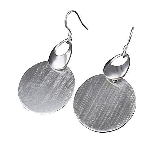Qinlee Ohrringe Damen Hängend Charme Ohrringe Silber Runder Teller Ohrhänger Ohrringe Silber