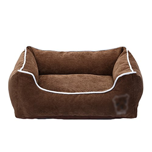 LvRao Hundebett, Katzenbett Corduroy Haustier Haus Rechteckig Hundekissen, Hundesofa, Tragbar Hundekorb - Für alle Jahreszeiten - (Kaffee, S: 45 * 35 * 17cm)