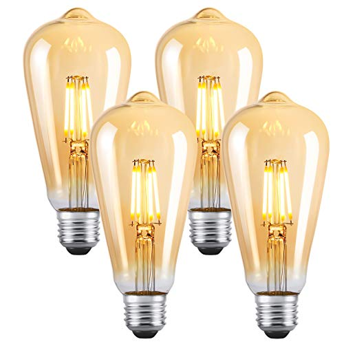 LED Lampen E27 ST64 Retro LED Dimmbare Glühbirnen Warmweiß 2700K Energiesparlampe Retro Glühbirne 360 ° Grad Strahlwinkel 4W Birne , 40W Glühlamp Enäquivalent Energieklasse A +(4er Pack)