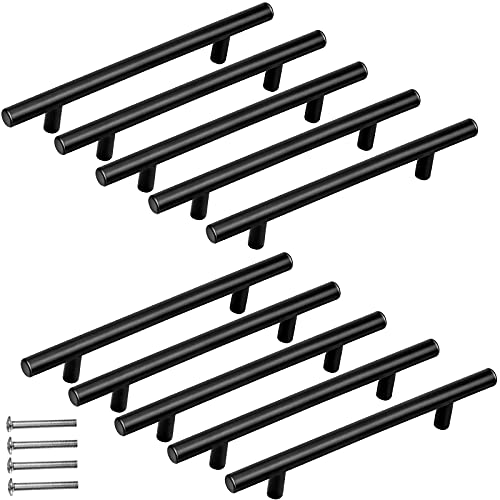 10 Piezas Tiradores de Cocina de 128mm, Tiradores de Armarios Negro de Acero Inoxidable con Tornillos para Cocina Muebles Puertas Cajones - Largo: 200mm