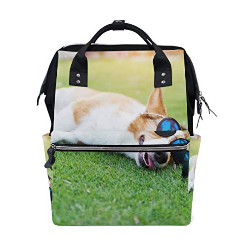 Sunglass Cool Dog Animal Bolsas de pañales de gran capacidad Mamá Mochila Múltiples funciones Bolso de lactancia Bolso de mano para niños Cuidado del bebé Viajes Mujeres diarias