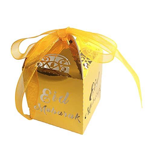 Koehope 50 stuks snoepgoed doos chocolade geschenkdoos Eid Ramadan decoraties met band Party Decoraties cadeaumanden Party Favor Boxes Supplies 5x5x8cm goud