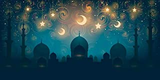 AOFOTO 6x3ft Islam Mosque Silhouette Moon Star Night Backdrop for Photography Religion Culture Islamic Traditional Ramadan Kareem Celebration Culture Holiday Decoration Wallpaper Photo Booth Props
