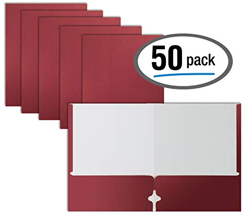 Two Pocket Portfolio Folders, 50-Pack, Burgundy, Letter Size Paper Folders, by Better Office Products, 50 Pieces, Burgundy
