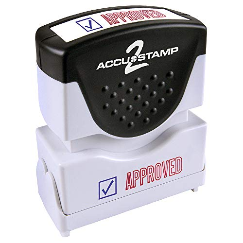 "ACCU-STAMP2 Message Stamp with Shutter, 2-Color, APPROVED, 1-5/8"" x 1/2"" Impression, Pre-Ink, Red and Blue Ink (035525)"